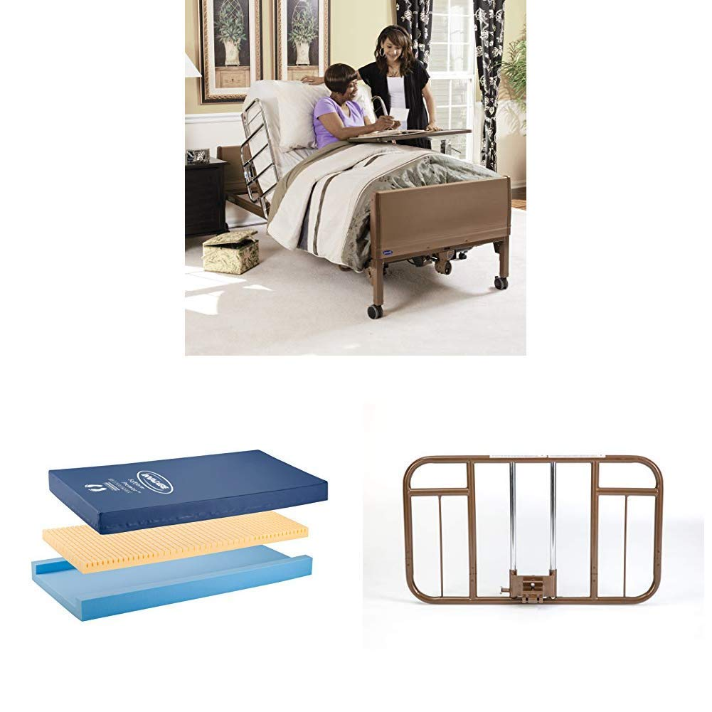 Invacare Full Electric Homecare Bed with Softform Premier Mattress and Half-Length Rails (Bundle Includes 5410IVC + IPM1080 + 6630DS)