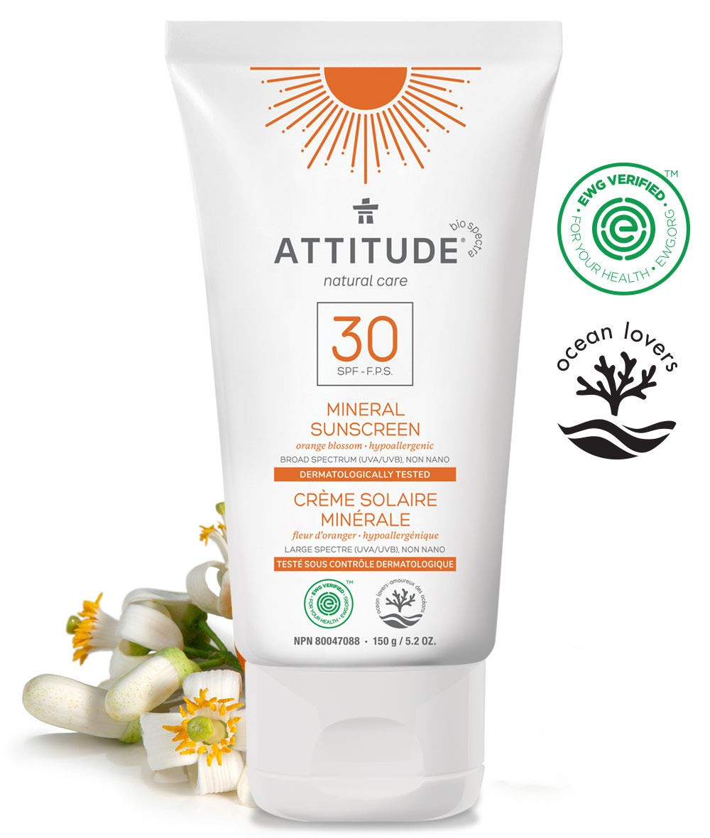 ATTITUDE Natural Care, Hypoallergenic Mineral Sunscreen, SPF 30, Orange Blossom, 5.2 oz