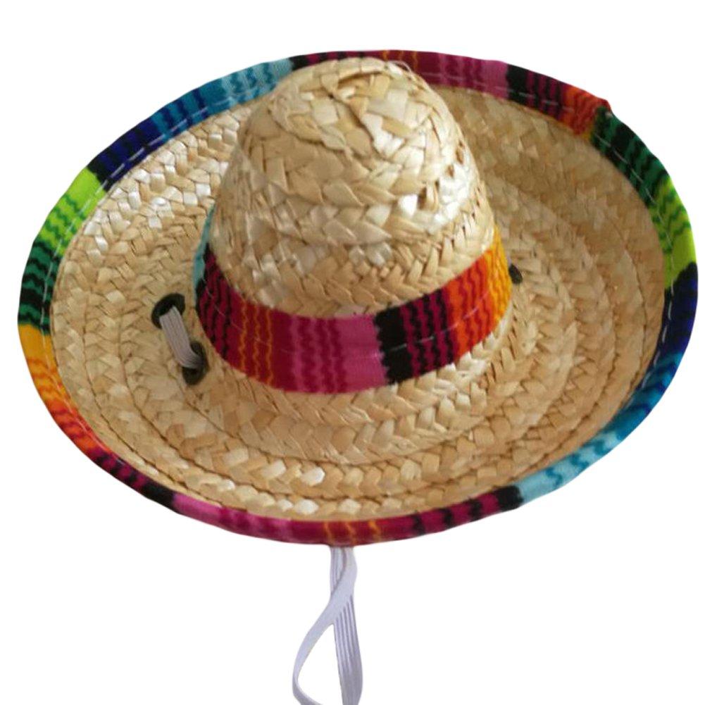 UEETEK Pet Sombrero Straw Hat Adjustable Hawaii Garden Sun Bucket ...