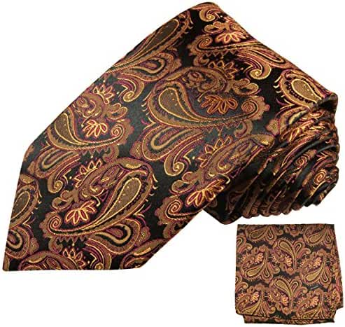 100% Silk Tie a. Pocket Square by Paul Malone . Bronze Paisley