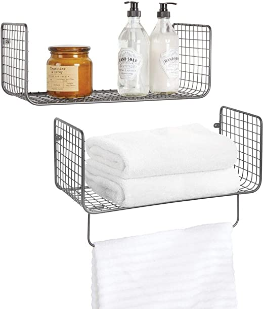 2 Tier Compact Bathroom Rack Shelf Rust-Proof Stainless Steel Storage Rack for Bathroom with Towel Rail Creative Bathroom Shelf