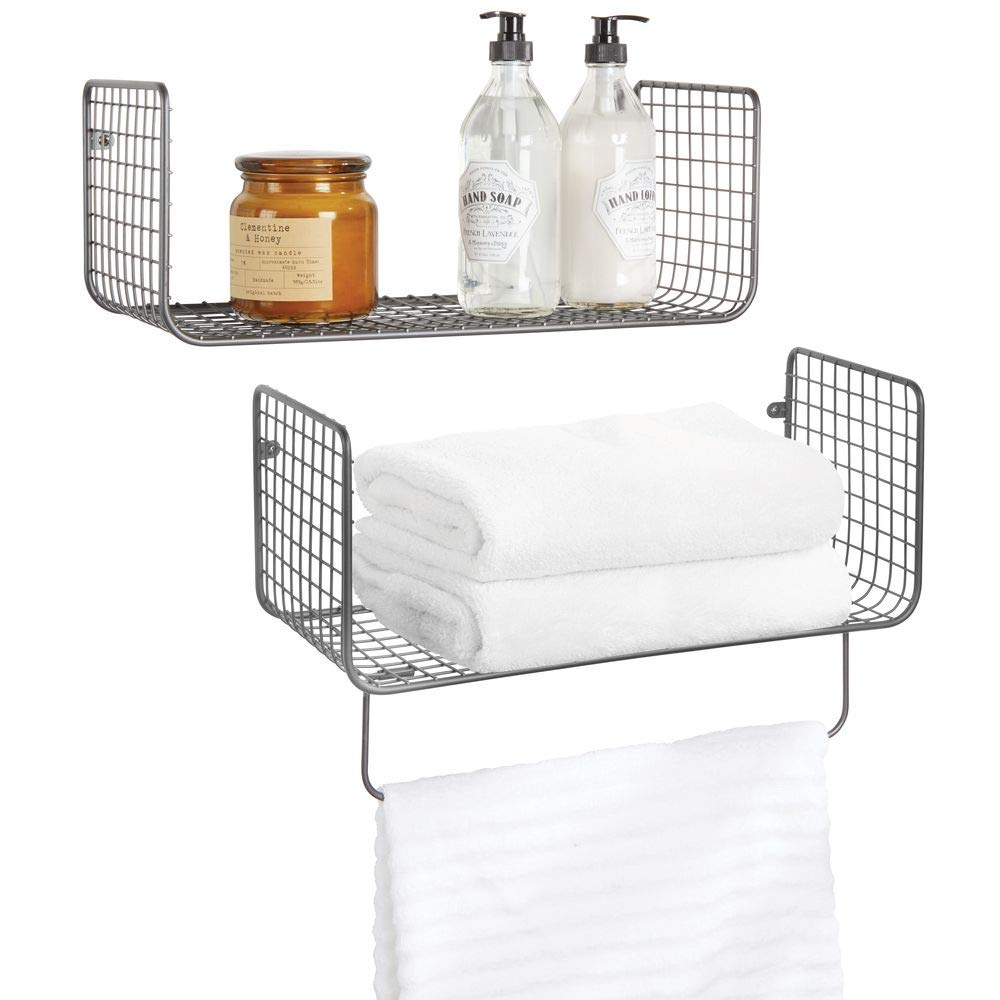 mDesign Metal Wire Farmhouse Wall Decor Storage Organizer Shelving Set - 1 Shelf with Towel Bar for Bathroom, Laundry Room, Kitchen, Garage - Wall Mount, 2 Pieces - Graphite Gray