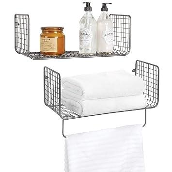 mDesign Wandregal – vielseitig verwendbares Metallregal für Badezimmer,  Garage oder Waschküche – zweiteiliges Set mit Handtuchstange – grau