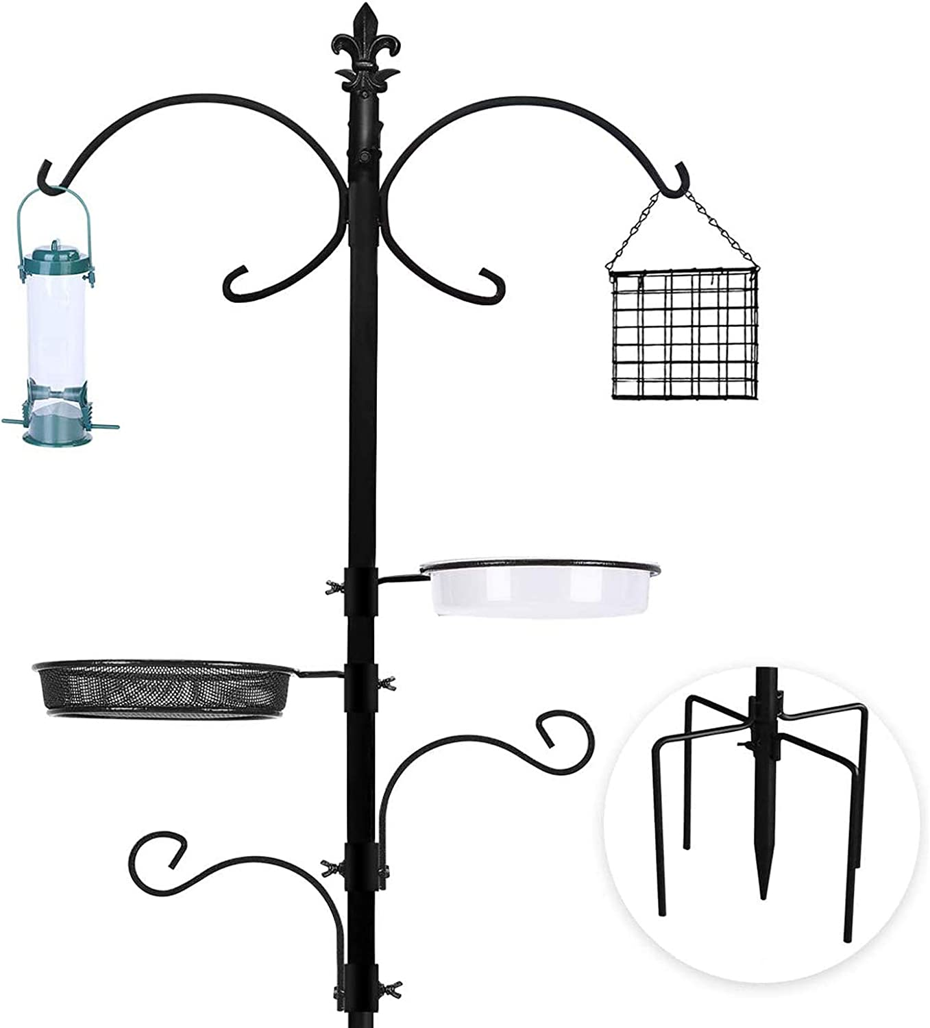 Bird Feeding Station Bird Feeders Poles Kit Multi Feeder Hanging Kit Premium Bird Bath for Attracting Wild Birds Birdfeeder & Planter Hanger (Bird Feeding Station)
