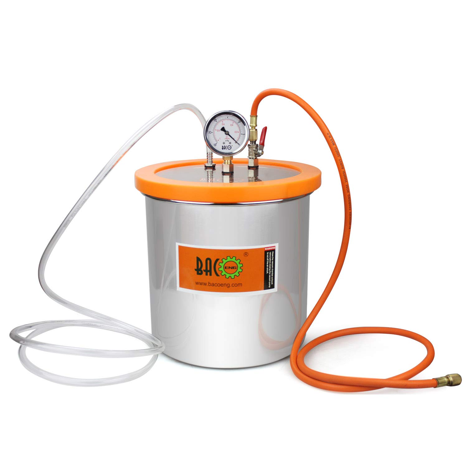 BACOENG 3 Gallon Stainless Steel Resin Trap Vacuum Degassing Chamber (3 Gallon/1.2 QT/2 QT Available)