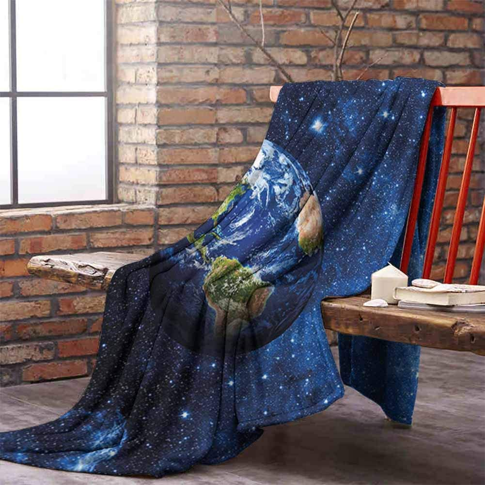 Summer Comforter Blanket Space Outer View of Planet Earth in Solar System with Stars Life on Globe Themed Image Blue Green W60 xL40