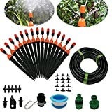 Drip Irrigation System DIY 50FT Micro Dripper Sprinkler Plant Irrigation Kit Irrigation Pipe, Irrigation Spray for Flower, Lawn, Patio, Garden Greenhouse Plants