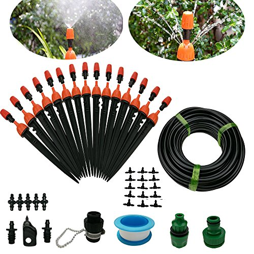 Drip Irrigation System DIY 50FT Micro Dripper Sprinkler Plant Irrigation Kit Irrigation Pipe, Irrigation Spray for Flower, Lawn, Patio, Garden Greenhouse Plants by SdeNow
