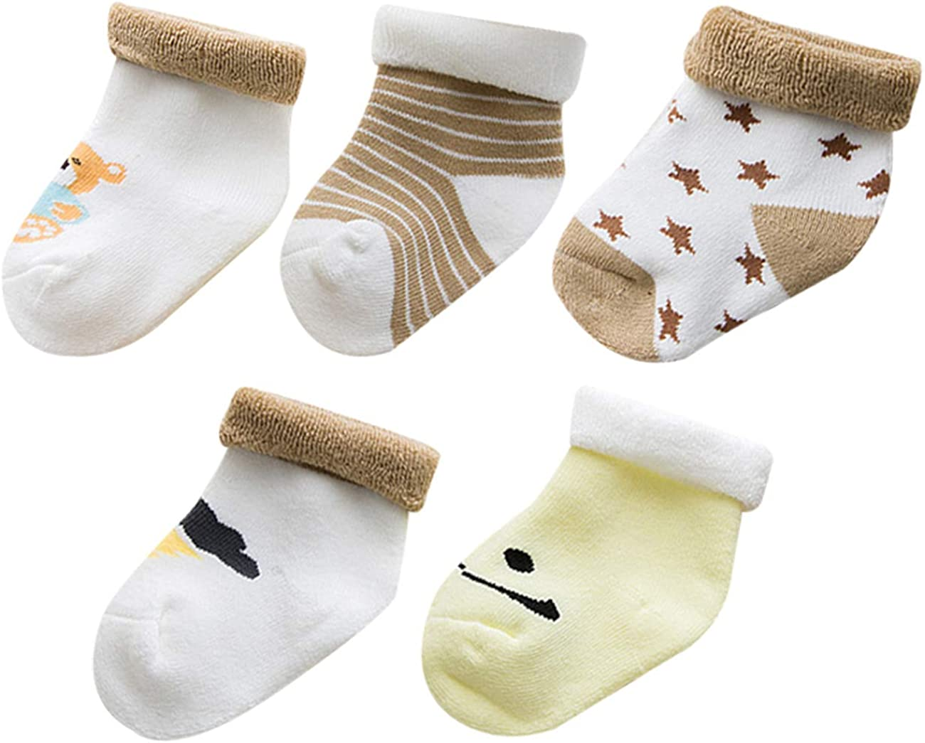Happy Cherry Baby Autumn and Winter Thick Cotton Cute Cartoon Socks 5 Pack