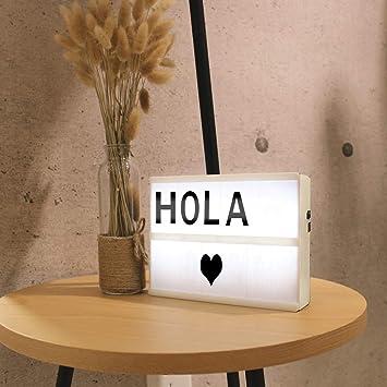 Caja Madera de Luz LED A5 55 cartas,con letras, numeros y simbolos ...