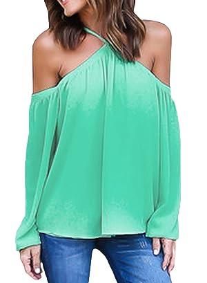 Happy Sailed Women Chiffon Off Shoulder Long Sleeve Halter Neck Shirt Blouse Tops, Small Green
