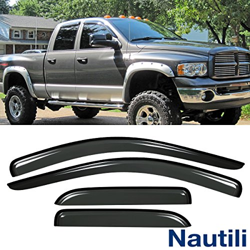 HAIHUA for 02-08 Ram 1500 & 03-09 2500/3500 Quad/Crew Cab Outside Mount Style Wind Sun Rain Guard Window Visors ()