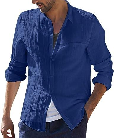 riou Camisa Hombre Blusa Suelta Casual Cuello En V Top Color sólido de algodón Manga Larga con Botones Casual T-Shirt Blusas básica Camiseta Transpirable: Amazon.es: Ropa y accesorios