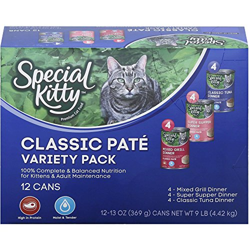 (13 oz Cans, Pack of 12), Special Kitty Classic Pate Variety Pack Wet Cat Food