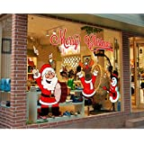 Christmas Santa Claus Snowman Reindee Window Wall Stickers Removable Mural For Home Decoration 25*70cm 2 PCS (C)