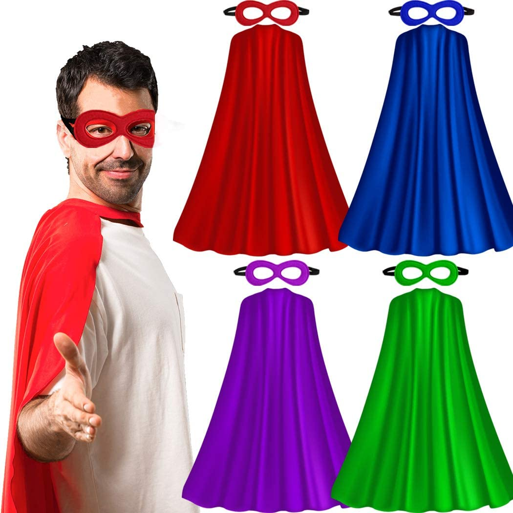 Superhero-Capes for Adults with Masks Bulk, Women Men Super-Hero Themed Birthday Party Dress Up Costume (4 Pack)