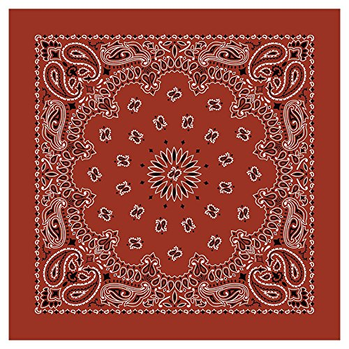 """100% Cotton Western Paisley Bandanas (22"""" x 22"""") Made in USA - Terracotta Dozen Packed 22x22 - Use For Handkerchief, Headband, Cowboy Party, Wristband, Head Scarf - Double Sided Print"""
