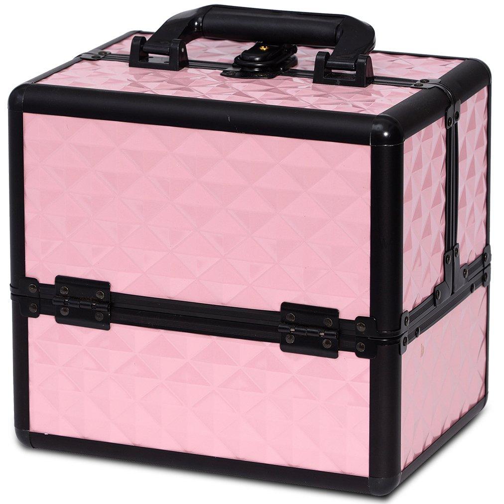 Makeup Organizer Case Travel Cosmetic - Aluminum Storage Box Lockable with Compartments Joligrace