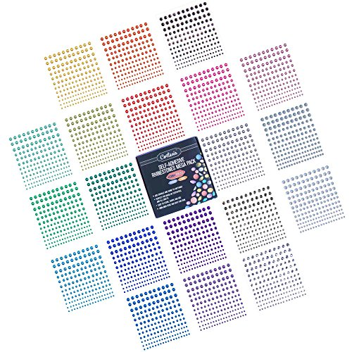 Self-Adhesive Rhinestones Bulk Pack - Assorted 3300 PCS - 20 Colors, 4 Sizes - Ideal for Face, Body, Makeup, Festival, Carnival, Crafts & Embellishments. Cortesia Jewel Gems Will Stick on Anything! -