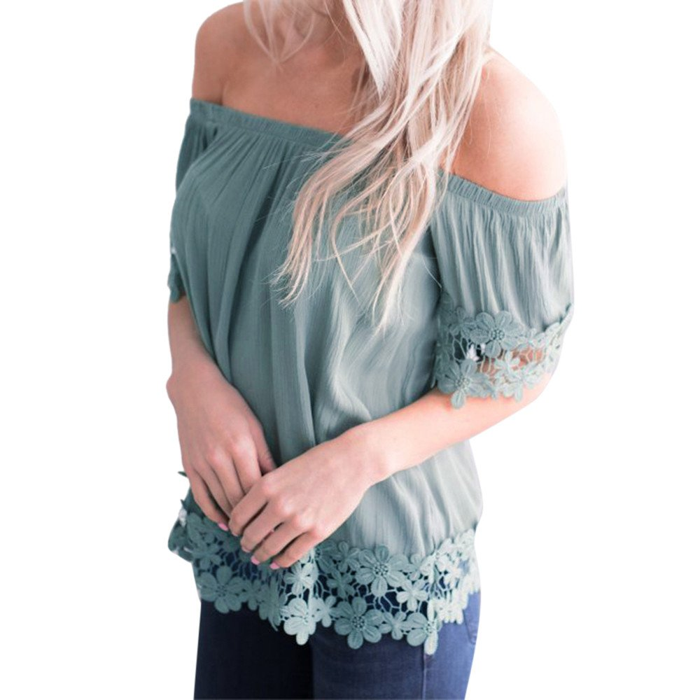 Cewtolkar Women Lace Tops Off Shoulder Blouse Stitching T Shirt Summer Dress Casual Tees Loose Tunic Pullover Top