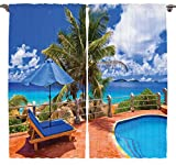 Dining Room Curtains Beach Decor by Ambesonne, Bedroom Living Room Home Fashion Decorations Summer View Decor Art Pictures Palm Trees Maldives Curtain Two Panels Set 108 x 84 Inches, Blue Green Coral