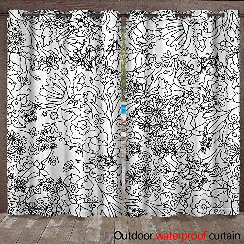 RenteriaDecor Outdoor Balcony Privacy Curtain Hand Drawn Floral Wallpaper W72 x L84