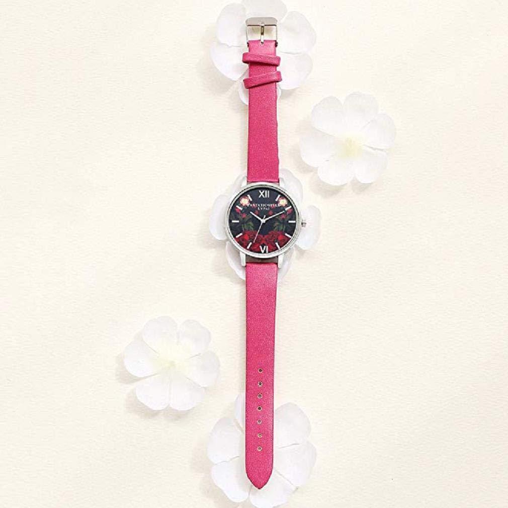 Scpink Mujeres Relojes de Cuarzo, patrón de Flores de liquidación Relojes de señoras analógicas Relojes Femeninos Relojes de Cuero (Rosa Caliente): ...
