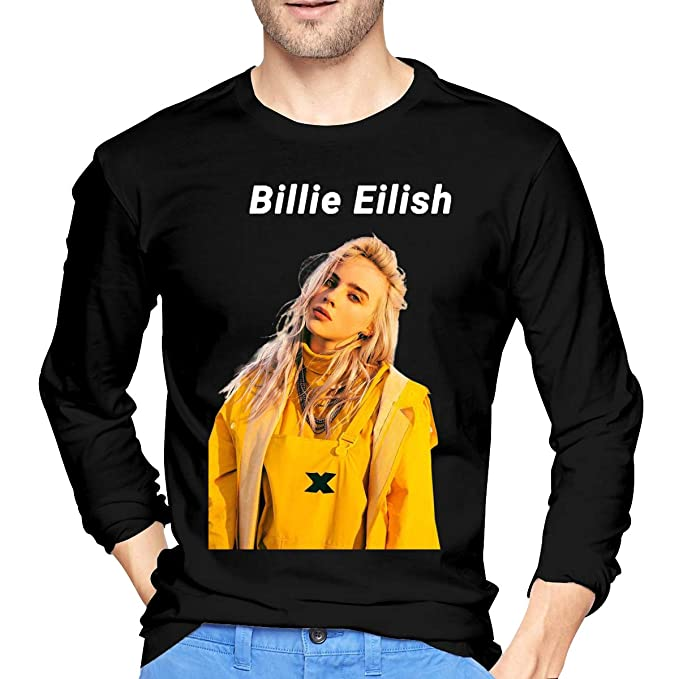 66acc8be0e6 Amazon.com  Billie Eilish Mens Novelty Long Sleeve T-Shirt Black ...