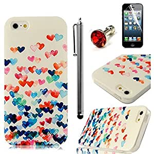 Sunshine Case 5S Case iPhone 5 Case Coloful Painted PC Protective Case for iPhone 5 5S Cover Case +1x Screen Protector +1x Stylus Pen +1x Auti Dust Plug (Little Heart-3)