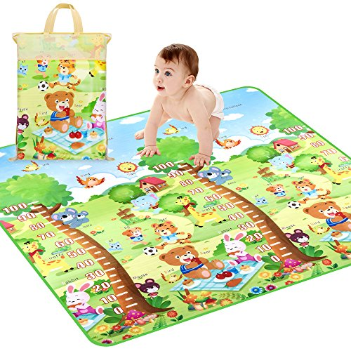 Baby Crawling Mat, Waterproof Non-Toxic Non-Slip Baby Floor Mat Educational Learning Area Rug For Kids and Children, Kids Activity Mat Reversible Thick Large 78.7