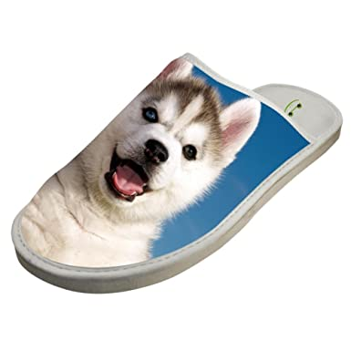 cda19d842 Amazon.com  Slippers with Husky Dog Cub 3D Print Indoor Sandals Unisex  Shoes Flat House Flip Flops  Clothing