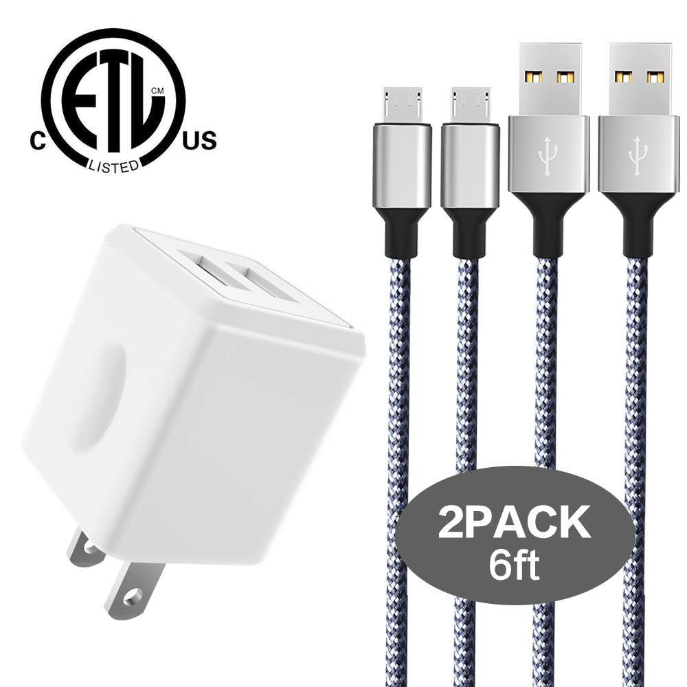 Taymanso Charger, Dual Port Travel Wall Power Adapter 2.1A 12W with Nylon Braided Micro USB Cable[2-PACK] 6feet USB Data Charge Sync Cable for SAMSUNG, HUAWEI and more Android Devices