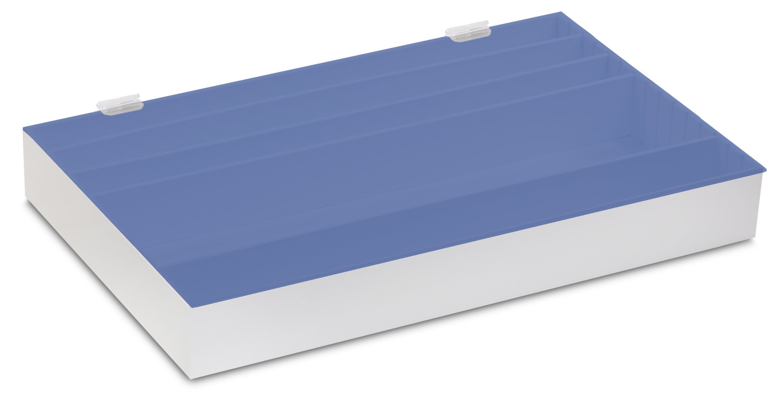 TrippNT 53061 Blue Lid PVC/Acrylic Pipet Storage Box with Adjustable Compartments, Large, 25'' Width x 3'' Height x 16'' Depth