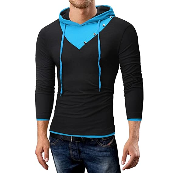 Amazon.com: kaifongfu Mens Top,Autumn and Winter Solid Color Hooded for Men Long-Sleeved T-Shirt Top: Clothing