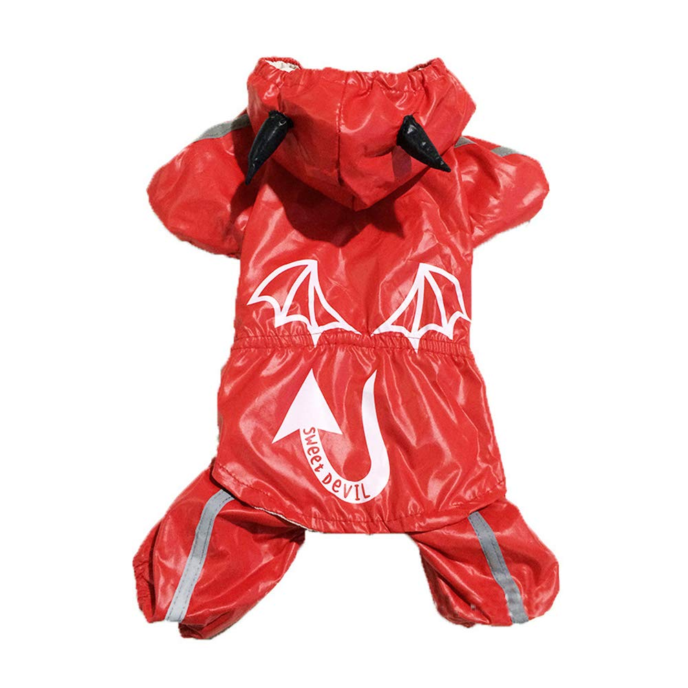 Large Cat Dog Rain Coat Dog Clothes Red Devil Costume for Pets Men's Women's Waterproof Halloween