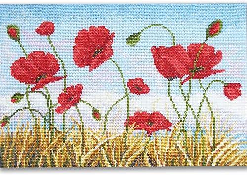 needlework kit embroidery kit flower kit Poppy Pincushion cross stitch Kit from Textile Heritage pincushion