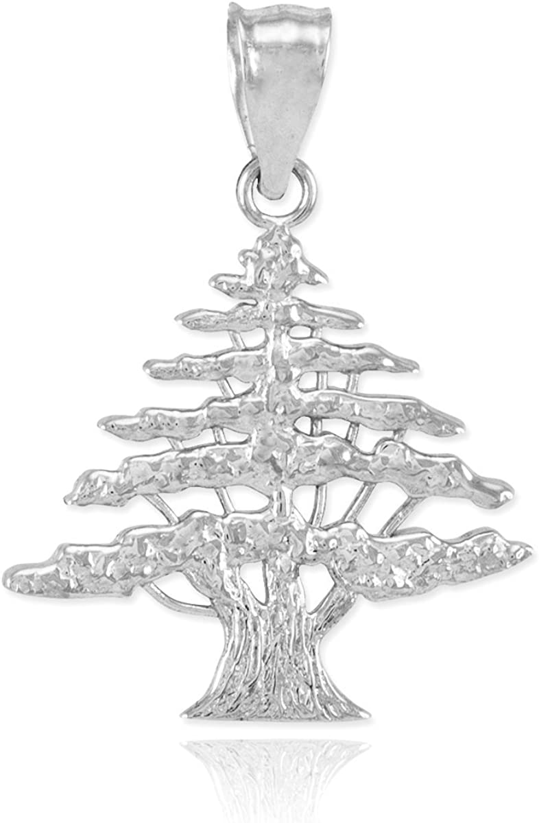 14K White Gold Cedar Tree Pendant Jewels Obsession Cedar Tree Charm Pendant 15 mm