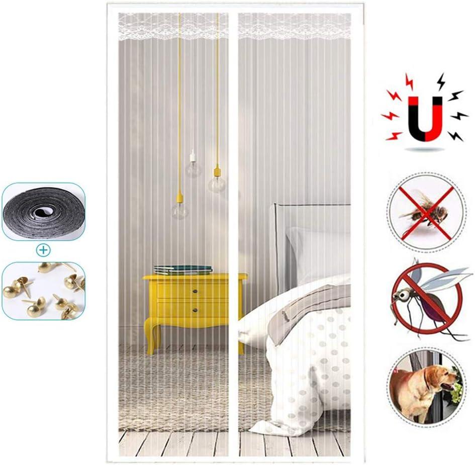 ANKIKI Puerta de Pantalla magnética Malla para Insectos de Trabajo Pesado Sellar Automáticamente Super Tranquilo Cifrado de Rayas Red de Insectos para Puerta,White,80×210cm(31×83inch): Amazon.es: Hogar