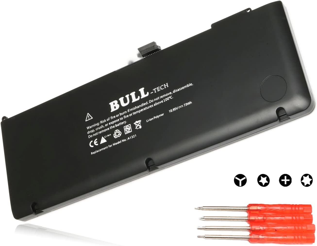 Bull Replacement New Laptop Battery for Apple A1321 A1286 (Only for Mid 2009 2010 Version), fits MB985 MB986J/A MC118 Unibody MacBook Pro 15'' [Li-Polymer 10.95V / 73Wh] with Four Free Screwdrivers