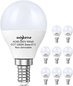 8-Pack E12 LED Bulbs 60w Equivalent, 5000K Daylight Ceiling Fan Light Bulbs with Small Candelabra Base, A15 Shape Round Bulb, Non-dimmable