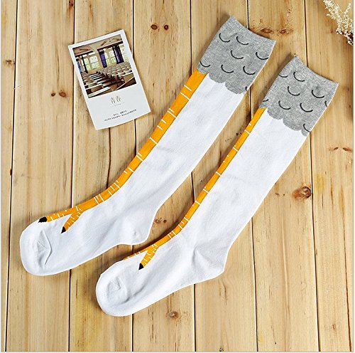 Women Crazy Funny Sexy Chicken Legs Cluck Knee High Fitness Gifts Novelty Socks white 2 Packs