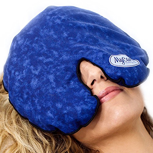 Sinus Mask (MyCare Face Mask (With Washable Cover) Hot Cold Compress Therapy, Natural Reusable Relief for Migraine, Tension, Stress, Sinus, Headache and Relaxation (Blue))