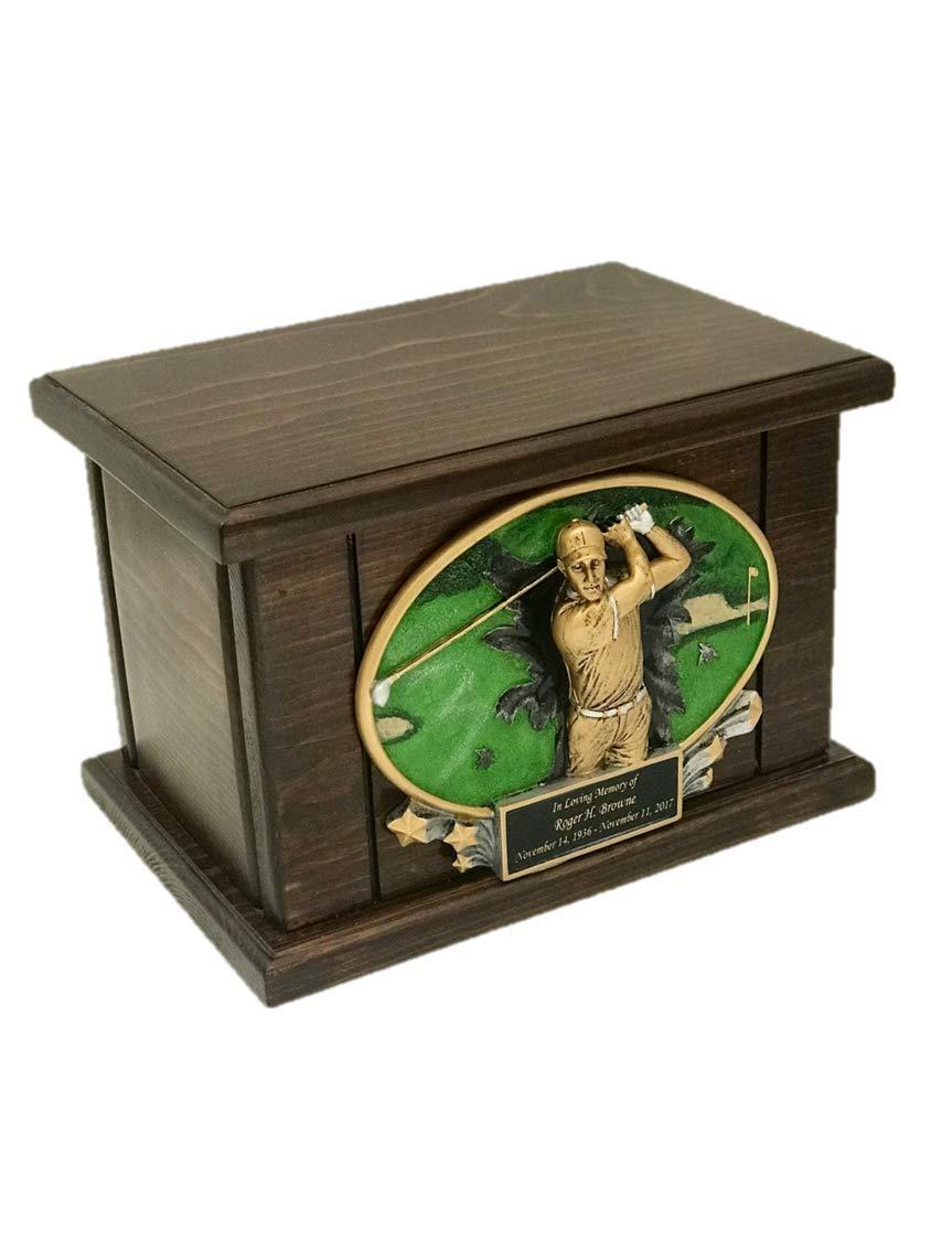 NWA Golf Cremation Urn, Wood Urn, Golfer Urn, Wooden Funeral Urn, Sports Urn with Engraving