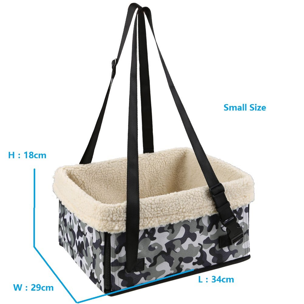 Pet Dog Car Carrier Booster Seat Waterproof Front Seat Collapsable Basket with Fleece Mat for Small Animal Cats (Small, Camouflage) by Petall (Image #2)