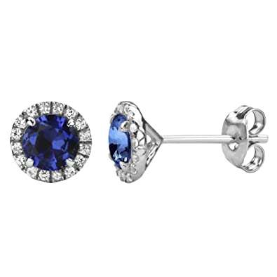 5c1f49da4 Image Unavailable. Image not available for. Color: Lab Created Blue  Sapphire Earrings - Created White Sapphire Halo in Sterling Silver