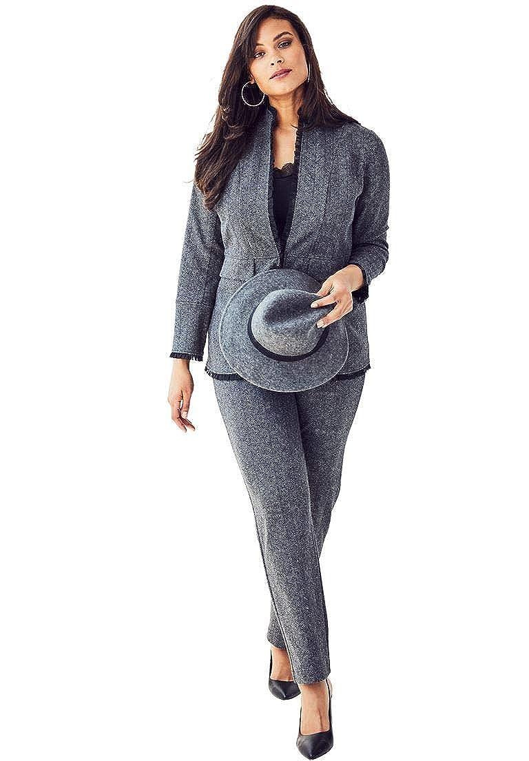 Roamans Women's Plus Size 2-Piece Ponte Pantsuit Ruffle Trim
