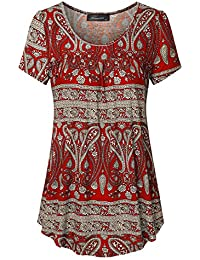 Women's Scoop Neck Pleated Blouse Top Tunic Shirt