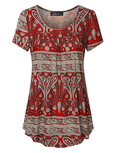 - Vinmatto Women's Scoop Neck Pleated Blouse Top Tunic Shirt(XL,Multi Red)