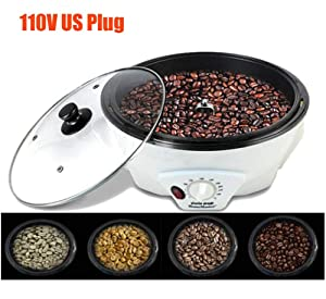 750g Capacity Home Coffee Bean Roaster Machine Dried Fruit Temperature Adjustable Durable Non-Stick Coating Baking Tools 110V