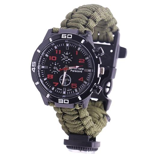 NAVIFORCE Reloj de Supervivencia Pulsera de Paracord con Brújula / Arrancador de Fuego / Silbato /